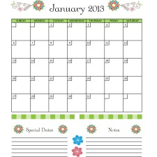 2013 Planner Calendars for your Household Notebook
