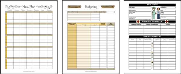 HOUSEHOLD PLANNING PAGES