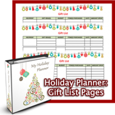 Holiday Planner Gift List Pages