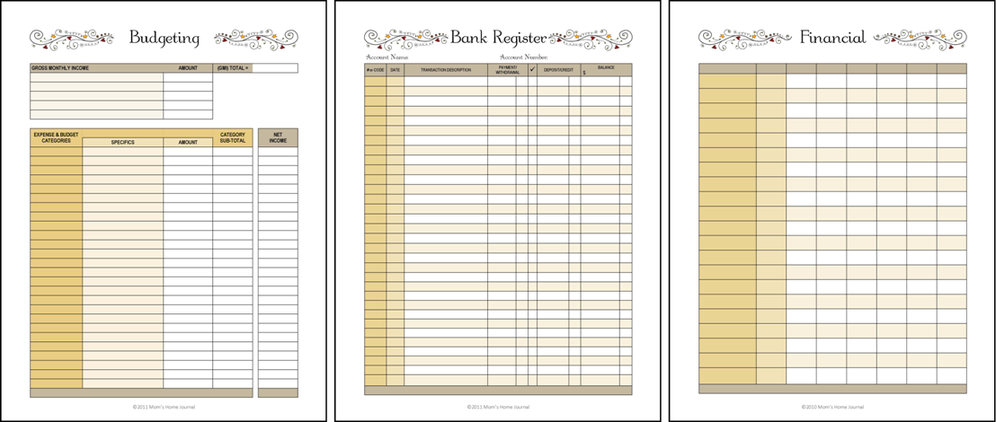 Financial Planner Forms - Budget, Bills, Bank Register