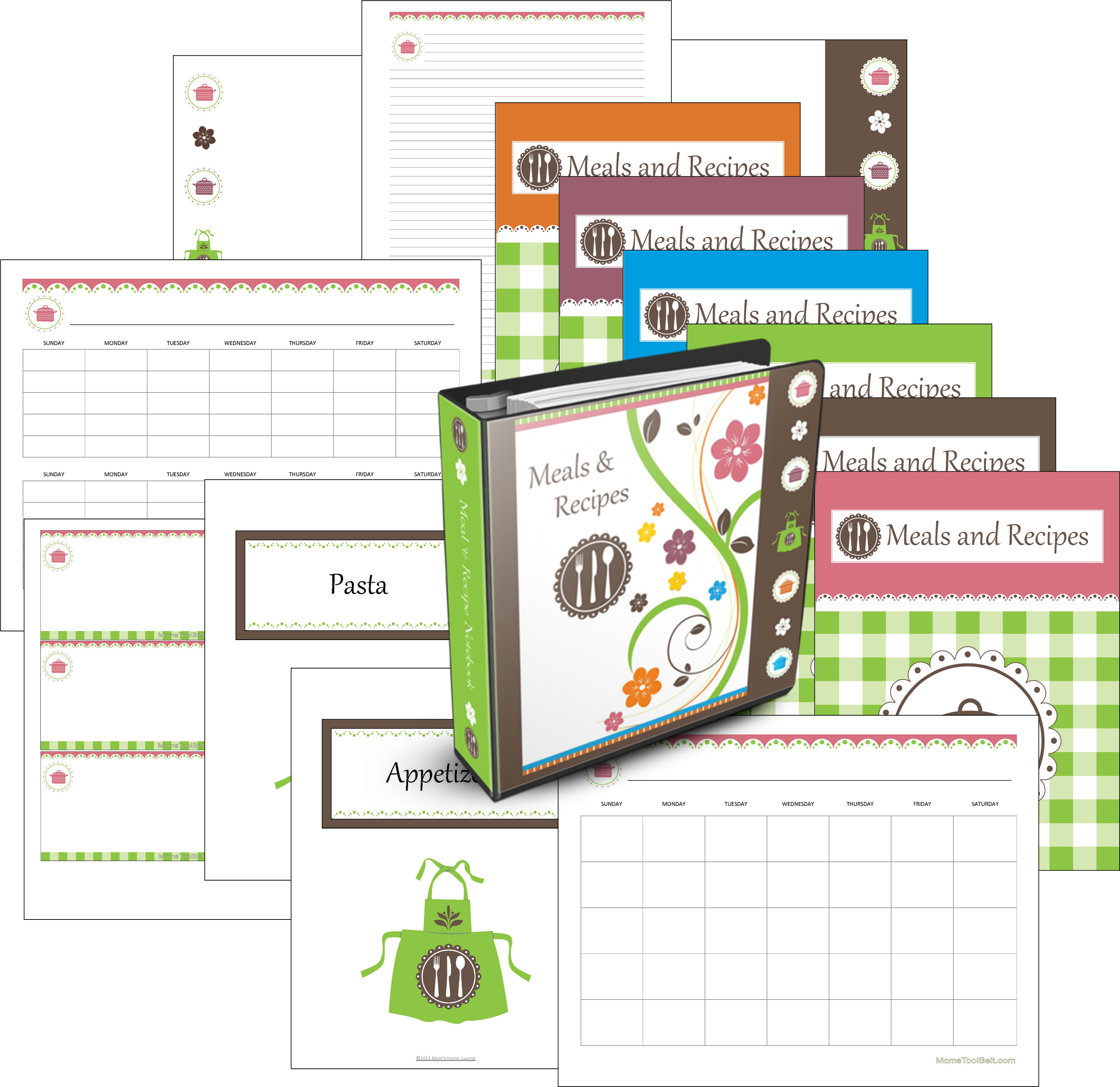Calendar Home Planner : Menu planner pages recipe
